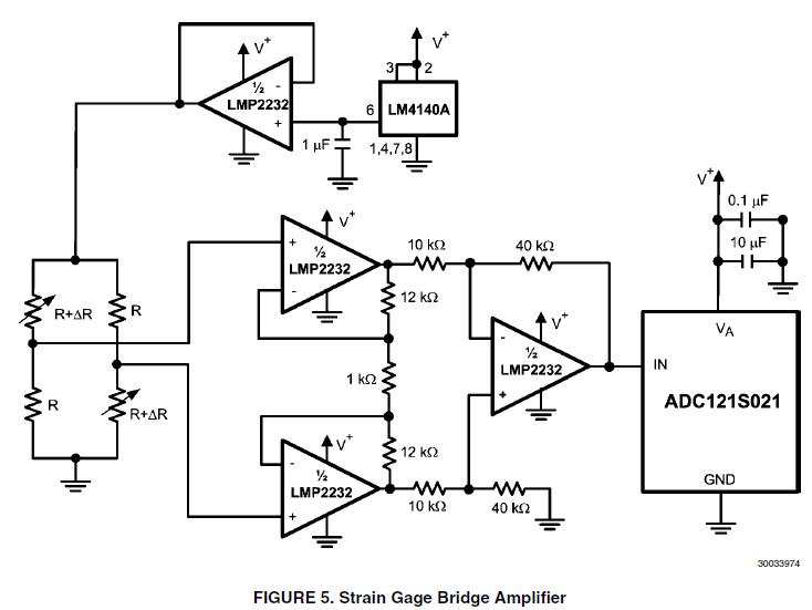 strain gauge amplifier with lmp2232
