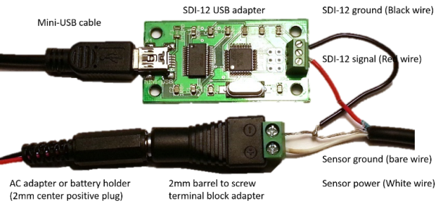 SDI-12 USD adapter with external power