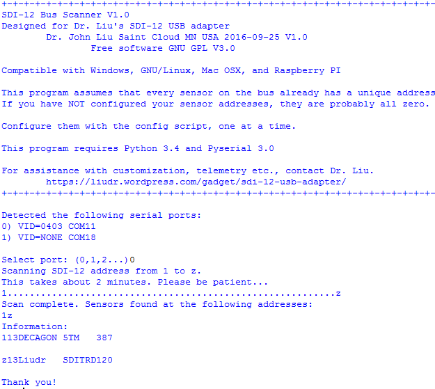 SDI-12 bus scan code | Liudr's Blog