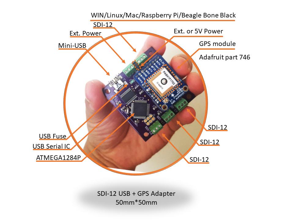 SDI-12 + GPS USB adapter